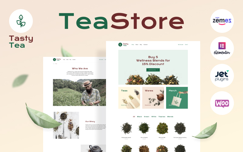 """Tasty Tea - Tea eCommerce Website Template"" thème WooCommerce adaptatif #89893"