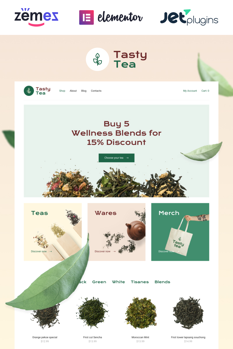 Tasty Tea - Tea eCommerce Website Template WooCommerce Theme