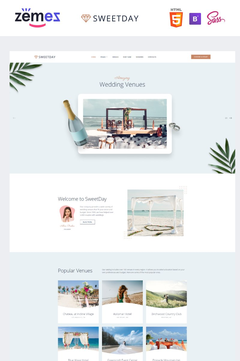 "Tema Siti Web Responsive #89829 ""SweetDay - Wedding Venue Agency"""