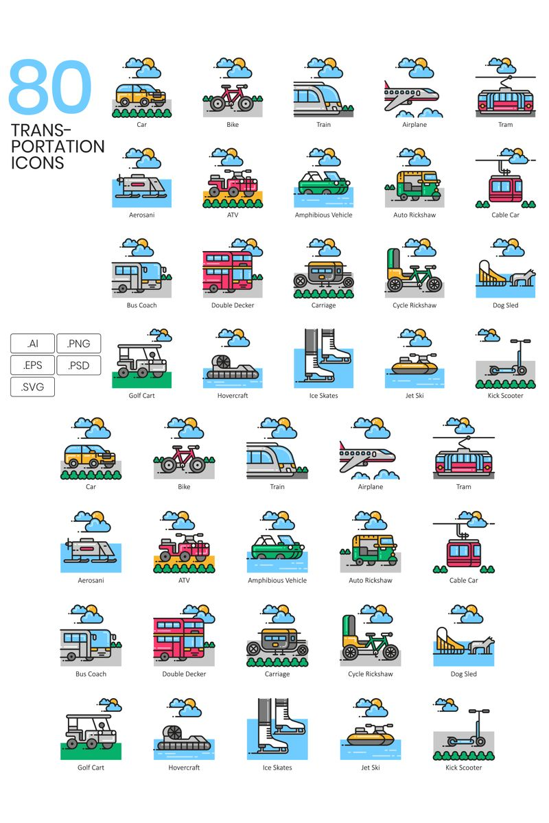 80 Transportation Icons - Aesthetic Series Ikon csomag sablon 89809