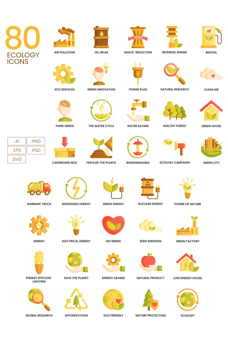 Zestaw Ikon 80 Ecology Icons - Caramel Series #89817