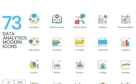73 Data Analytics Icons - ColorPop Series Icon Set