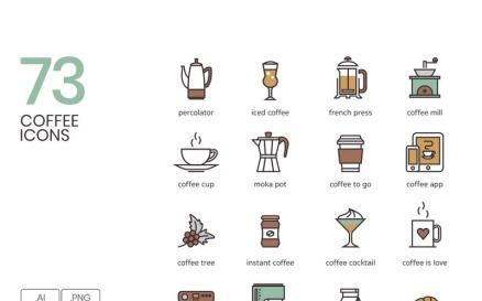 73 Coffee Icons Icon Set
