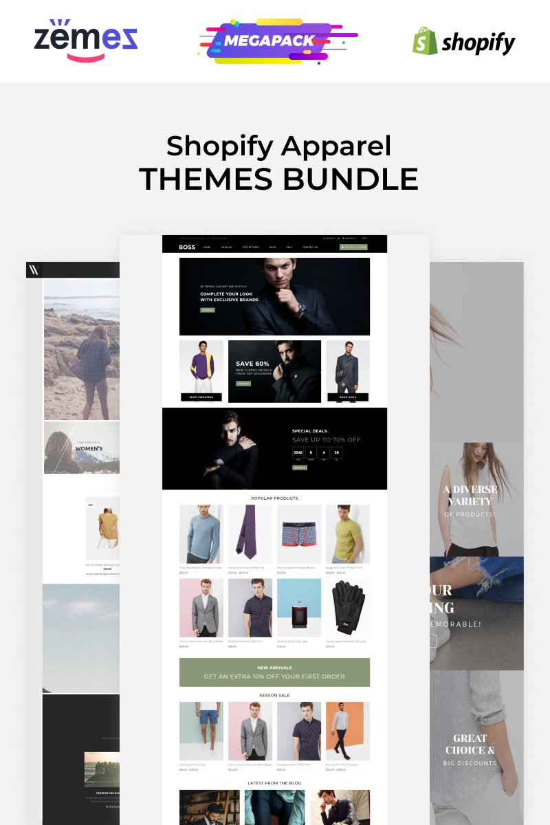"""Apparel Store Template Bundle"" thème Shopify Bootstrap #89934"