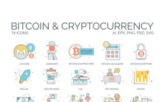 74 Cryptocurrency Icons - ColorLine Series Set