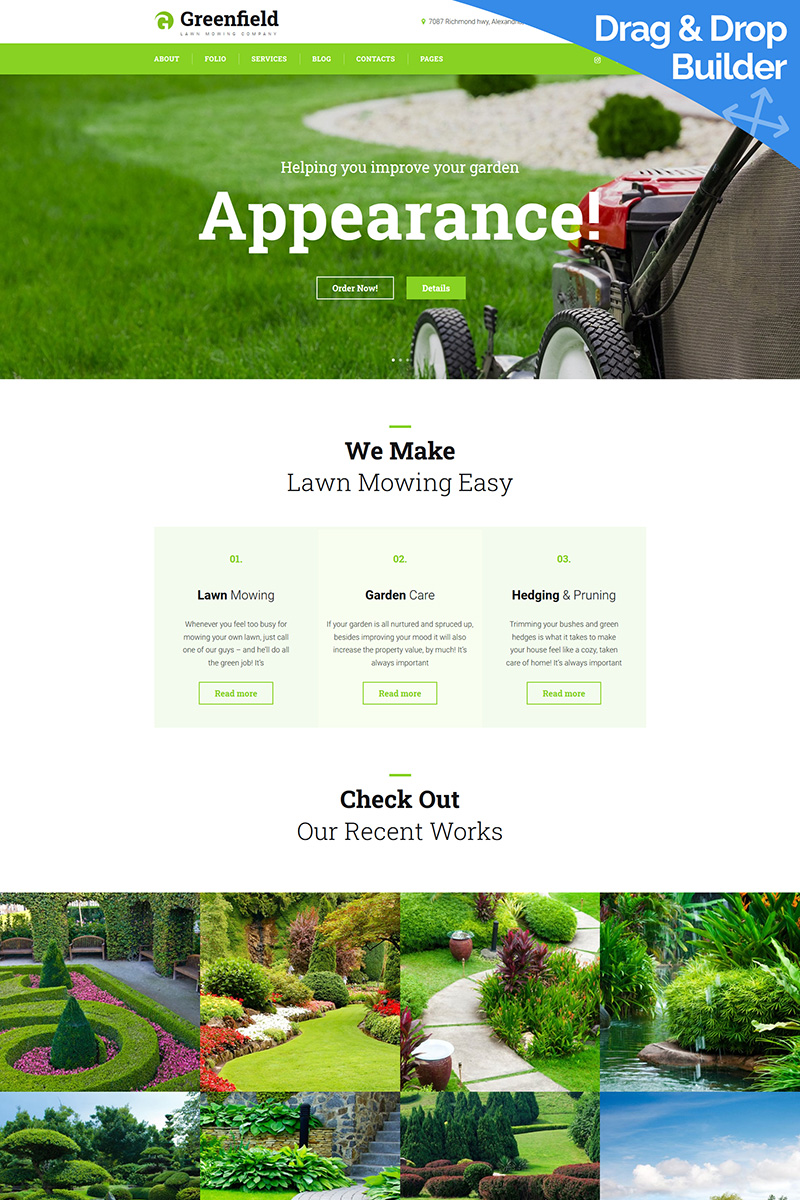 """Modello Moto CMS 3 Responsive #89933 """"GreenField - Lawn Mowing"""""""