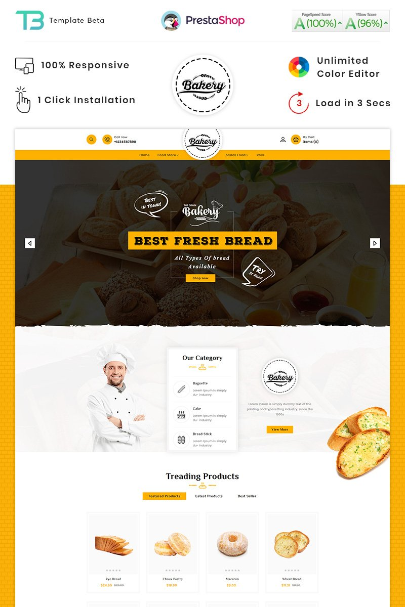Bakery - The Bakery Bread PrestaShop Theme - screenshot
