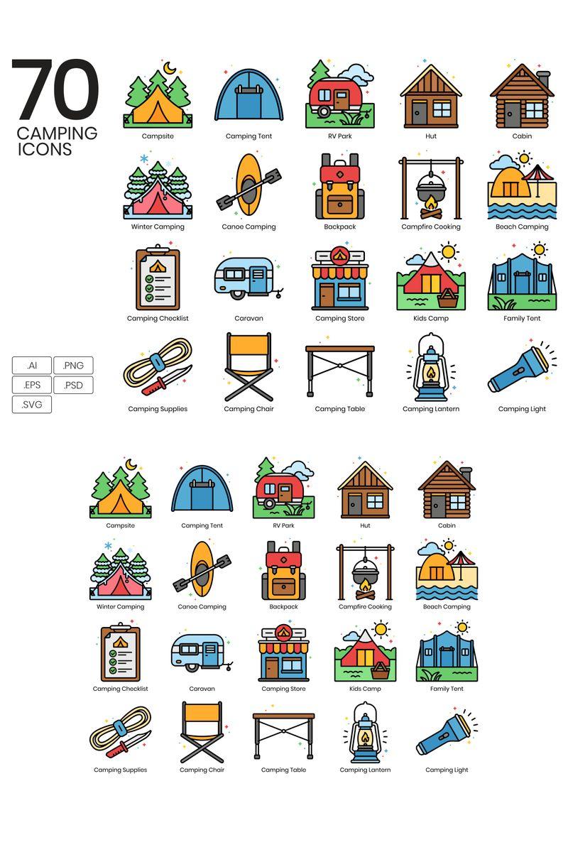 70 Camping Icons - Vivid Series Iconset Template - screenshot