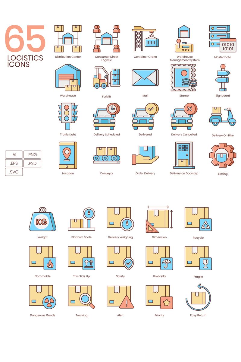 65 Logistics Icons - Honey Series Iconset Template - screenshot