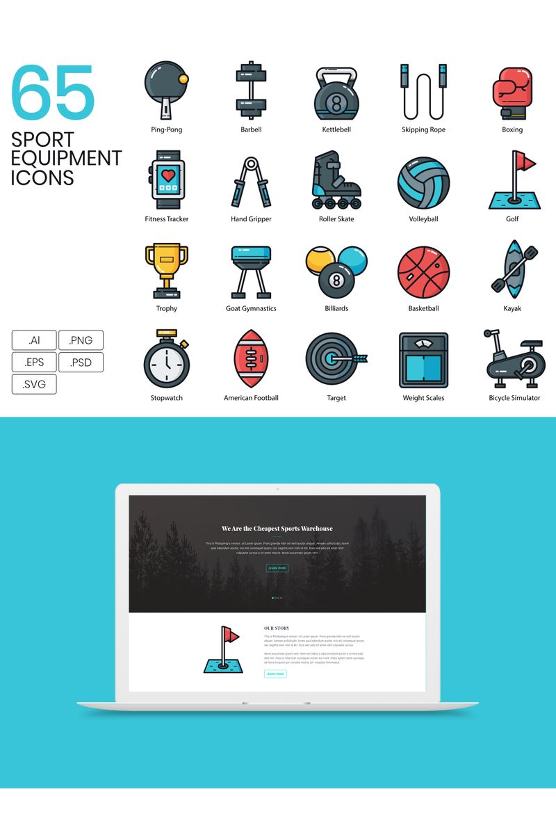 65 Sports Equipment Icons - Groovy Series Iconset Template - screenshot