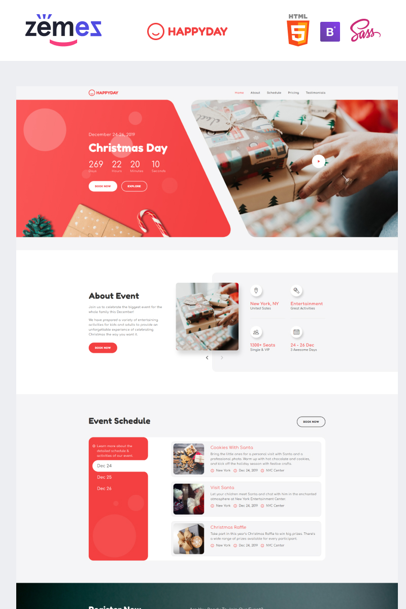 HappyDay - Christmas Themed Event Landing Page Template - screenshot