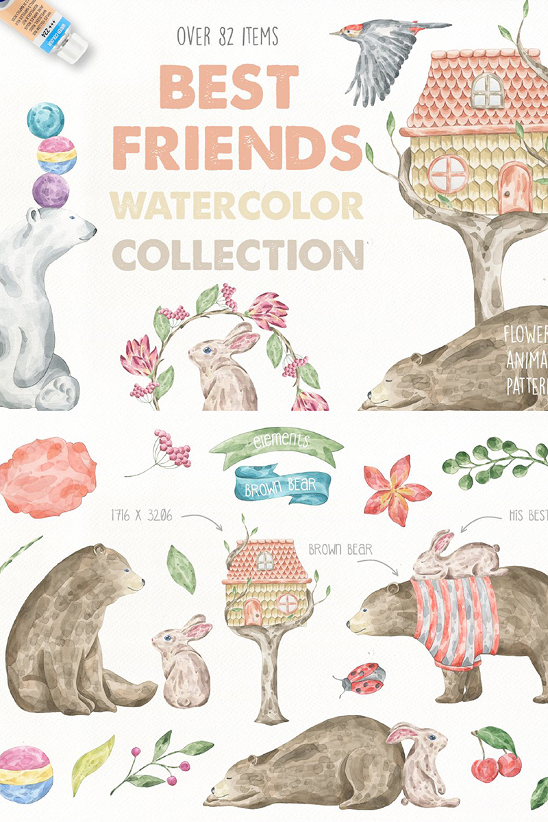 "Ilustración ""Best Friends Watercolor Collection"" #90131"