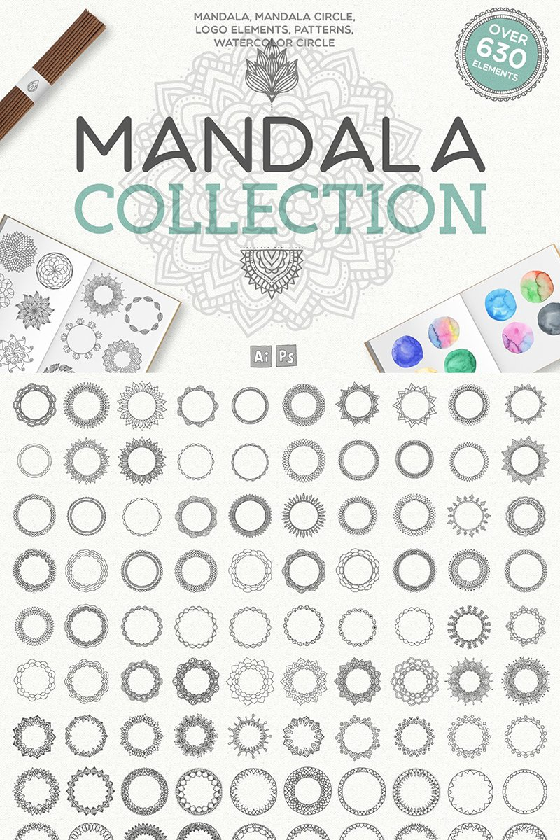 Ilustracja Mandala Collection [ 630 Elements ] #90132