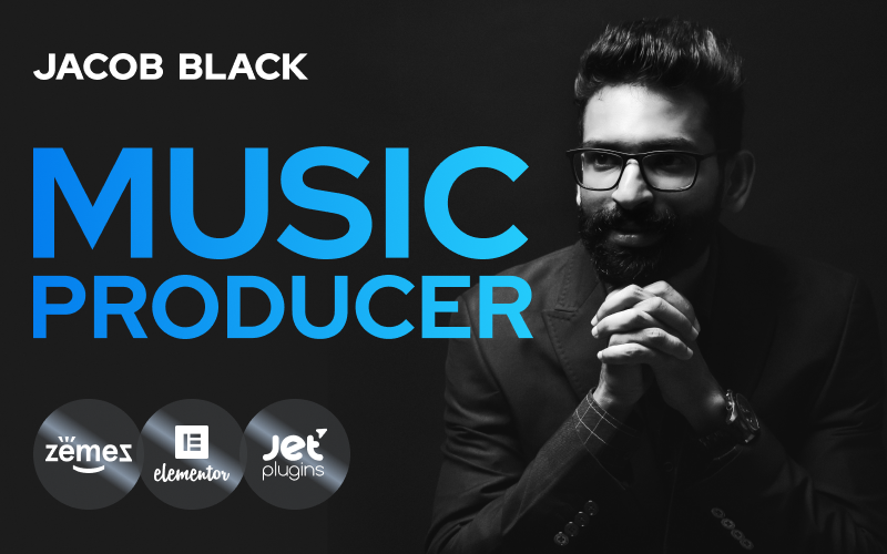 Responsivt Jacob Black - Talented Music Producer Website Design WordPress-tema #90114