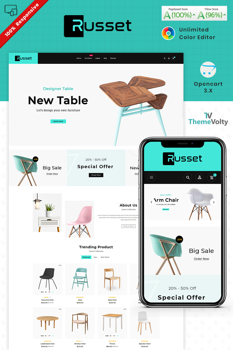 Russet - Furniture Home Decor Shop Template OpenCart №90116 - captura de tela