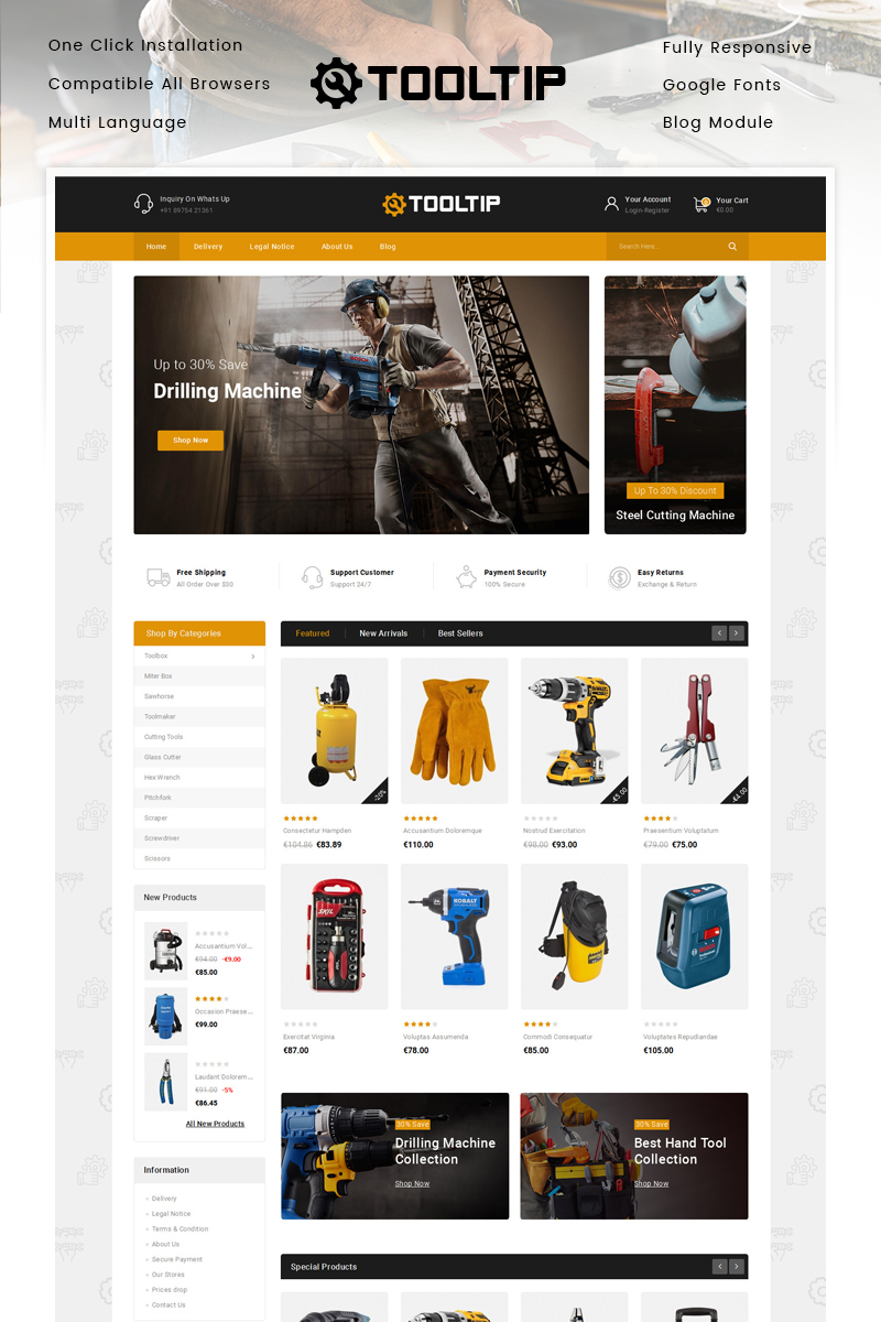 Tooltip - Hand Tool Store PrestaShop Theme - screenshot