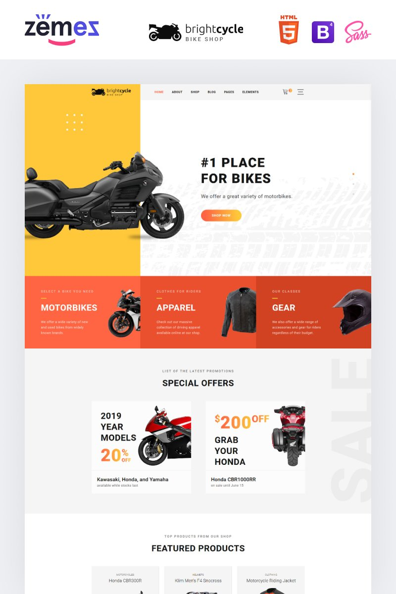 Brightcycle - Motorcycle Store Website Template