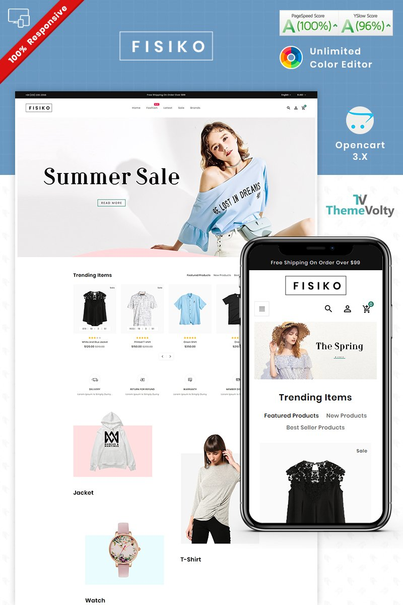"""Fisiko Fashion - Mega Fashion Shop"" 响应式OpenCart模板 #90273"