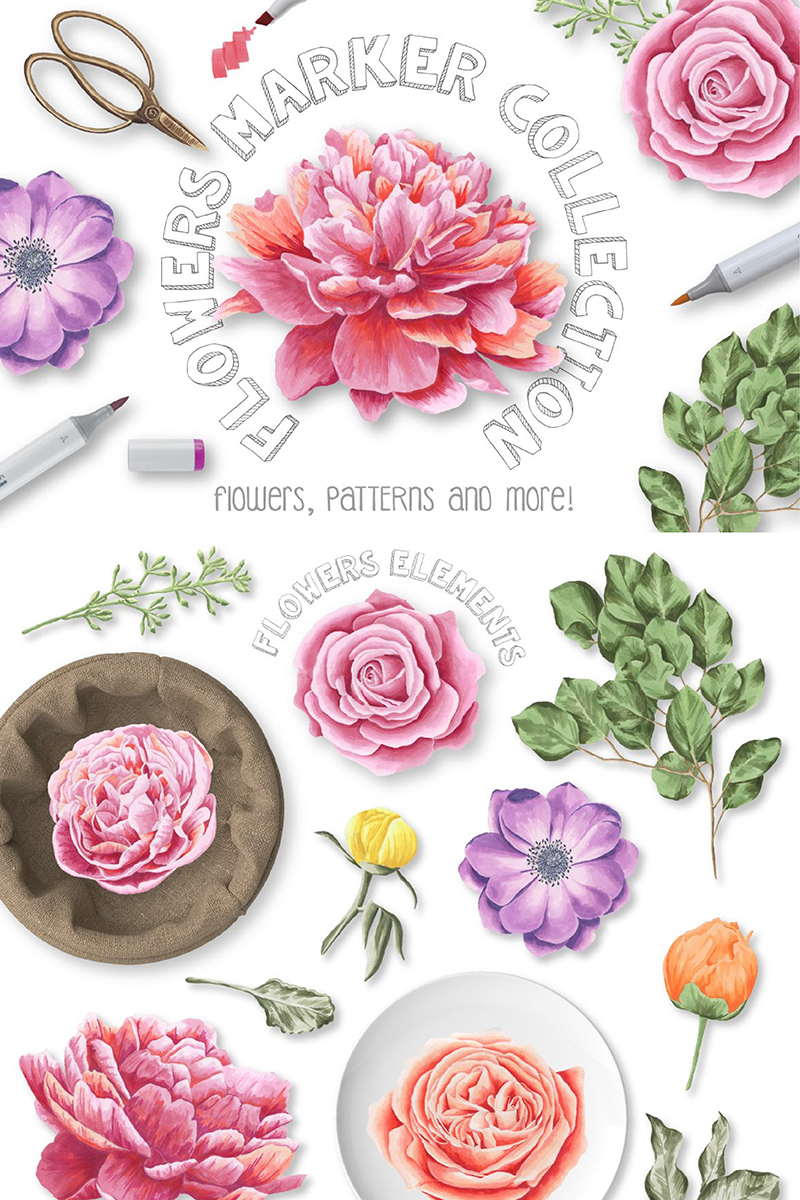 Flower Marker Collection Illustration - screenshot