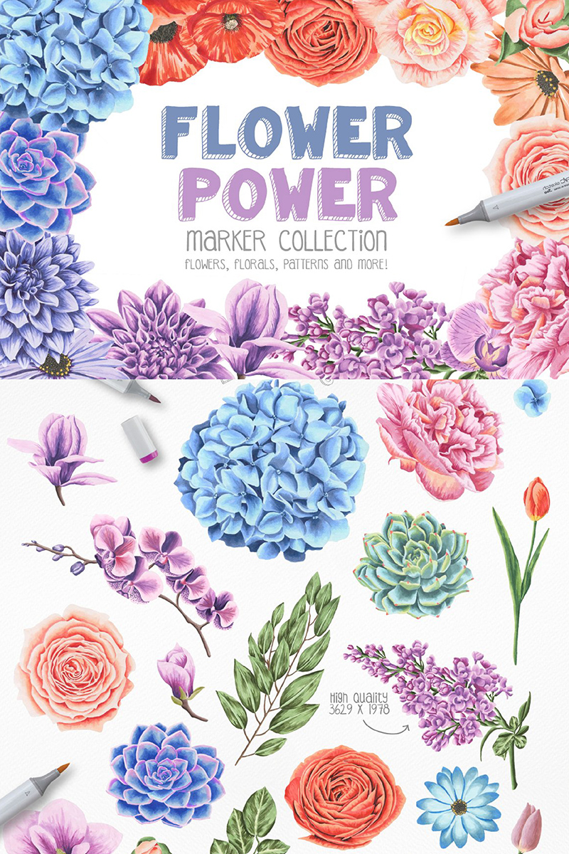 Ilustracja Flower Power Marker Collection #90233