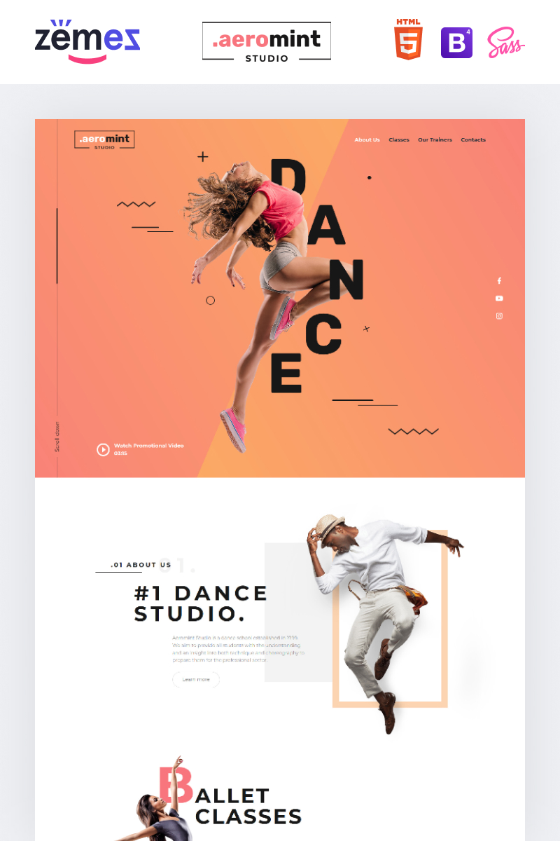 "Landing Page Template namens ""Aeromint - Dance Studio"" #90260"