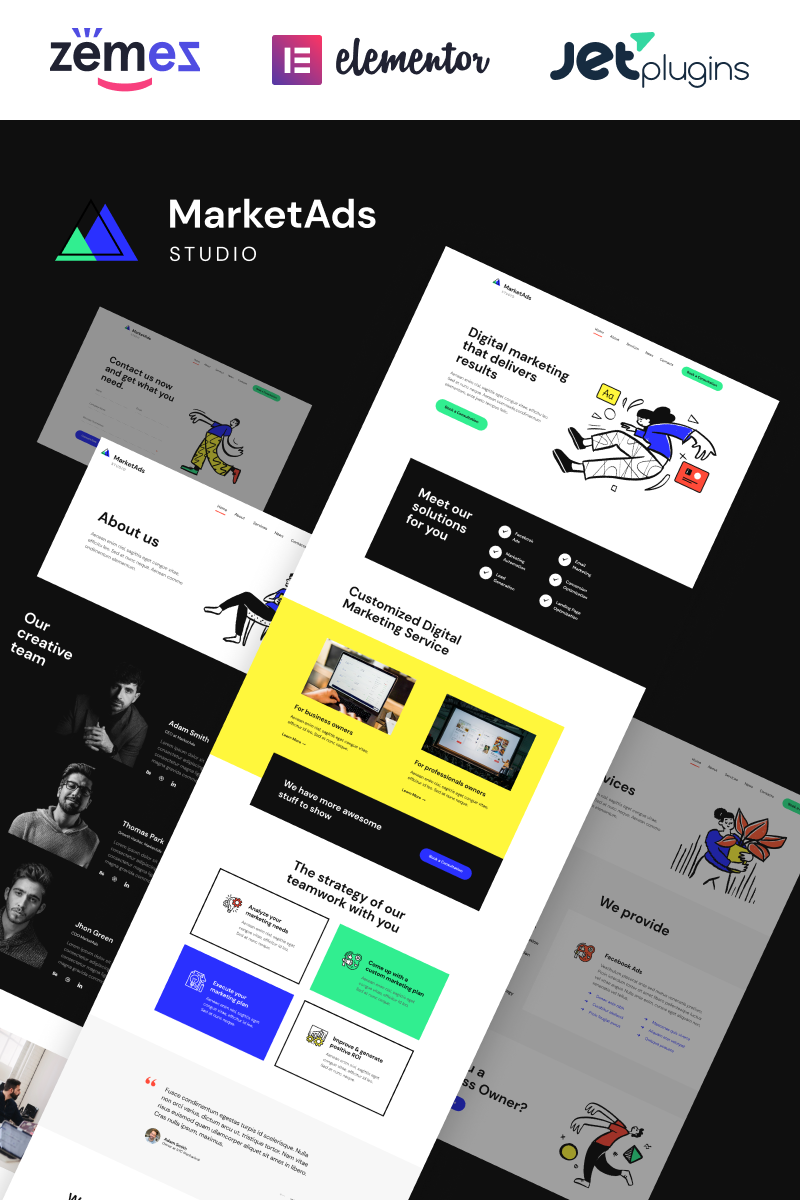"""MarketAds - One of Modern Digital Marketing Templates"" Responsive WordPress thema №90259"