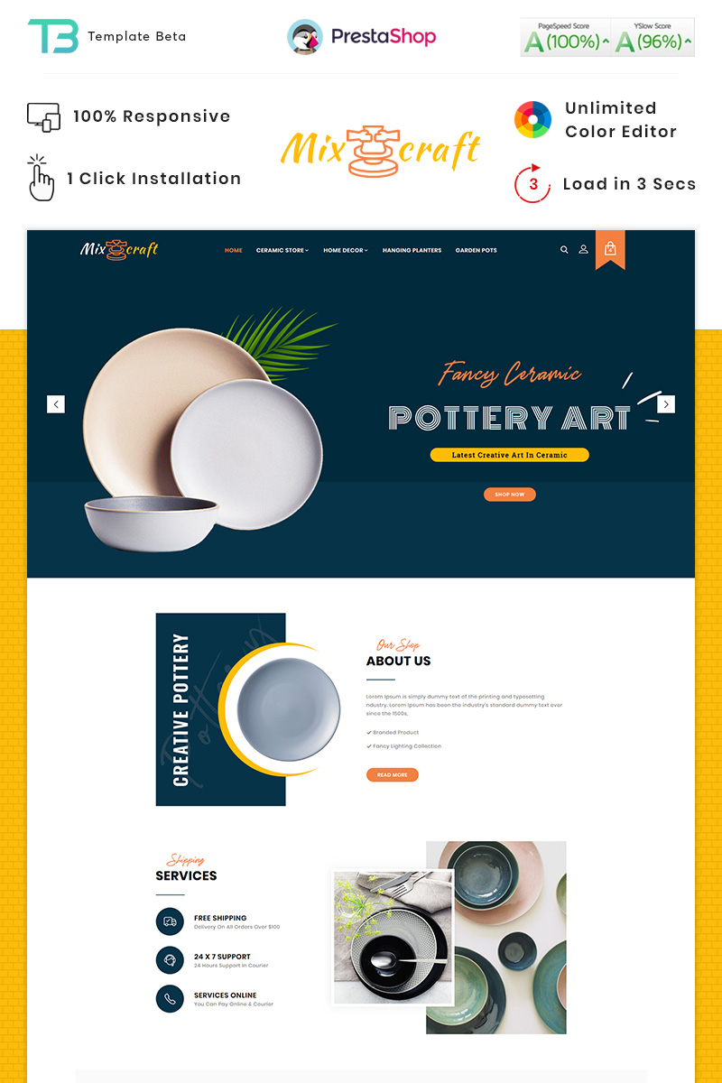 """Mix Craft - Ceramic Responsive"" - адаптивний PrestaShop шаблон №90275 - скріншот"