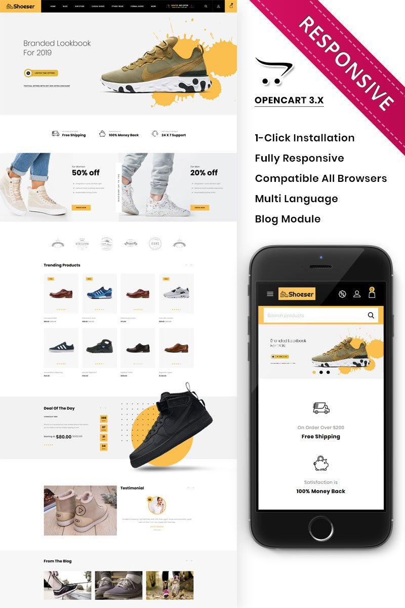 """""""Shoeser - The Ultimate Shoe Store"""" 响应式OpenCart模板 #90272 - 截图"""