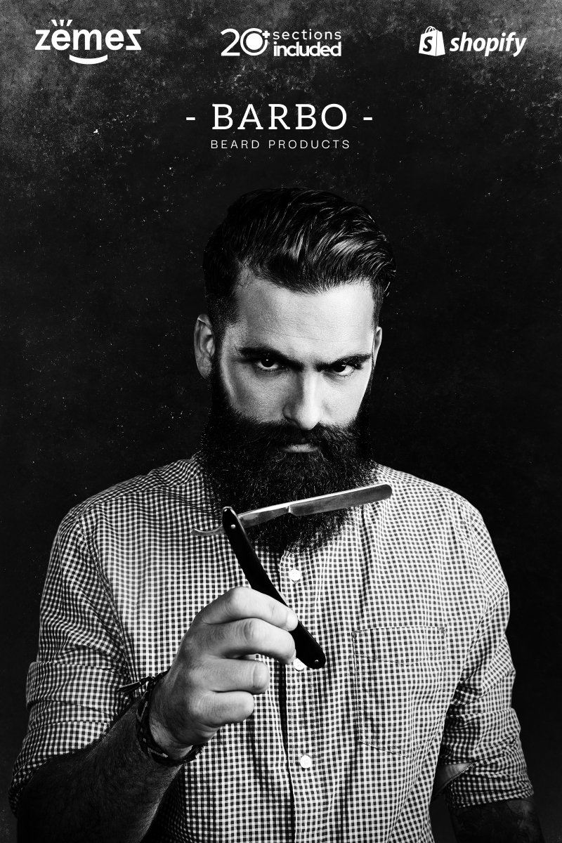"""Tema Shopify """"Beard Products Store Template"""" #90217"""