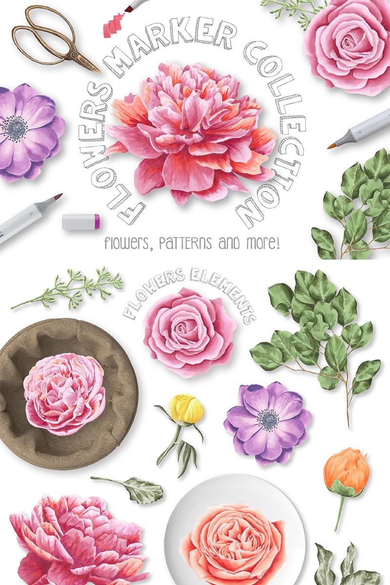 """Template Illustrazione #90235 """"Flower Marker Collection"""""""