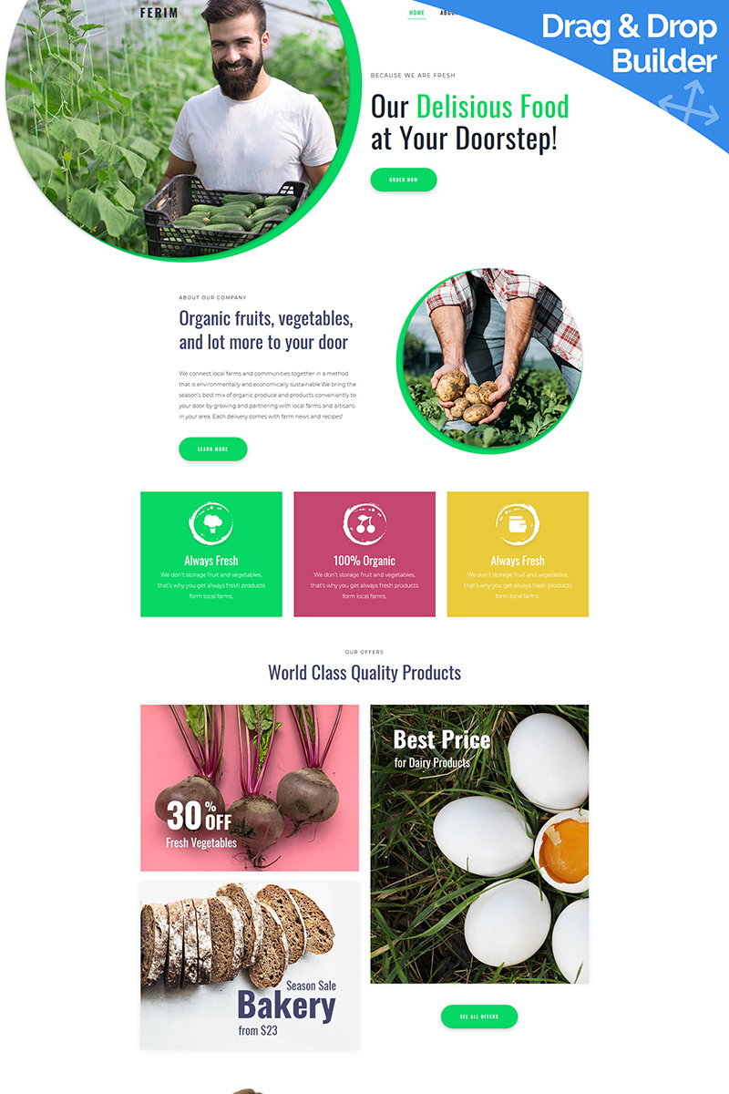 """Template Moto CMS 3 Responsive #90238 """"Ferim - Food Delivery"""""""