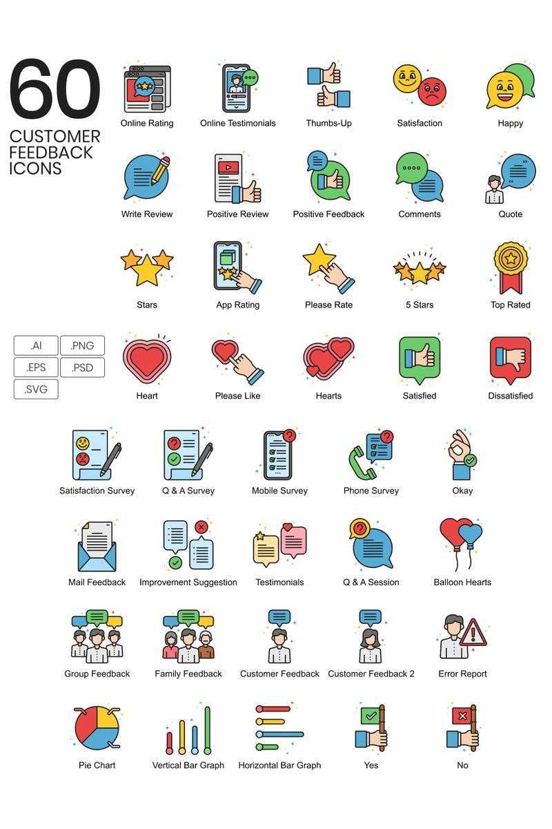 60 Customer Feedback Icons - Vivid Series Iconset Template - screenshot