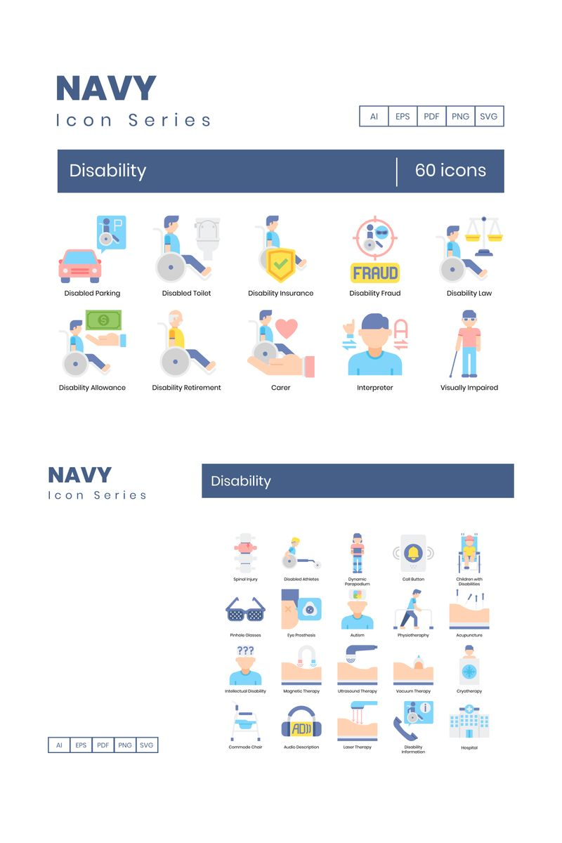 60 Disability Icons - Navy Series Iconset Template - screenshot