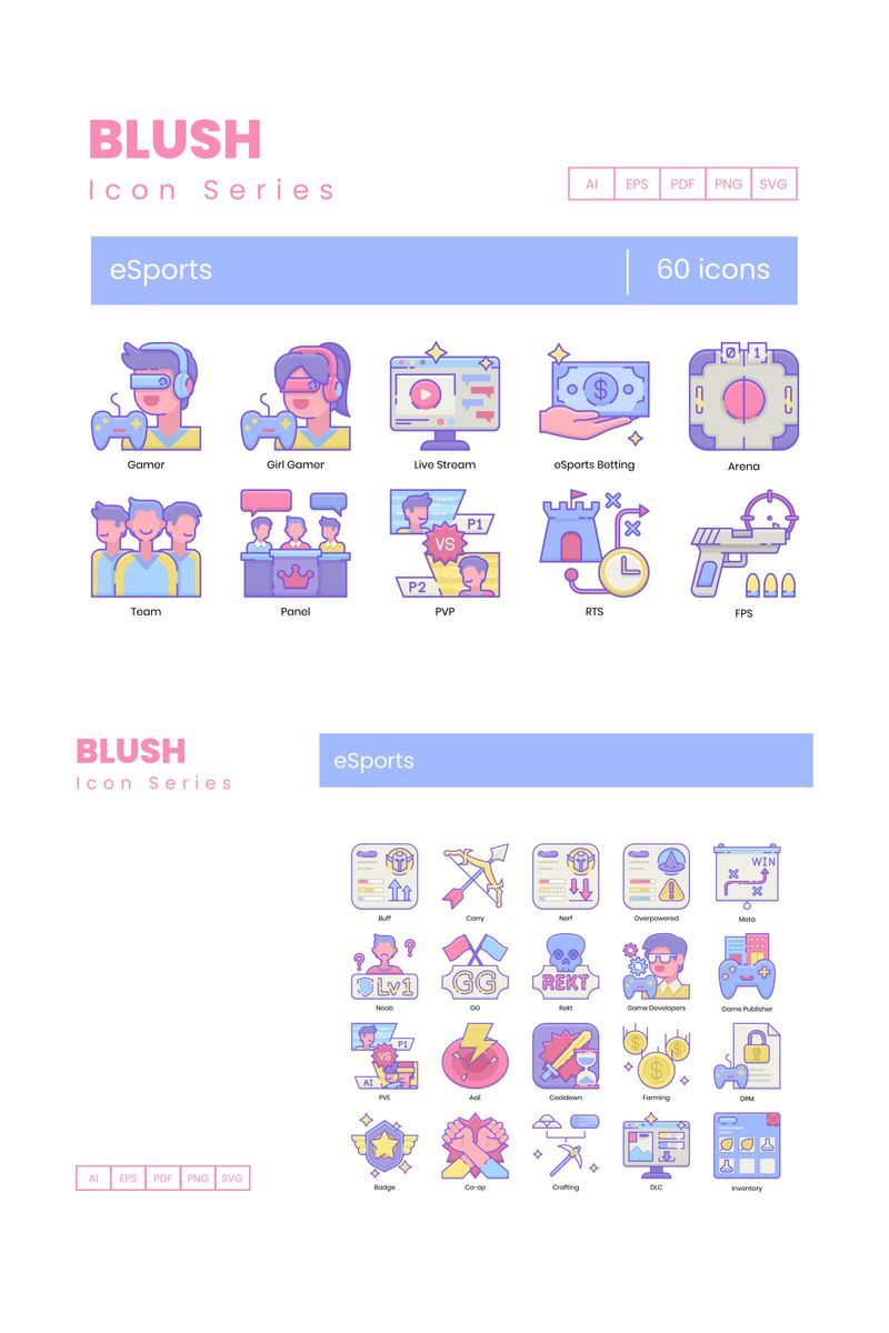 60 eSports Icons - Blush Series Iconset Template - screenshot