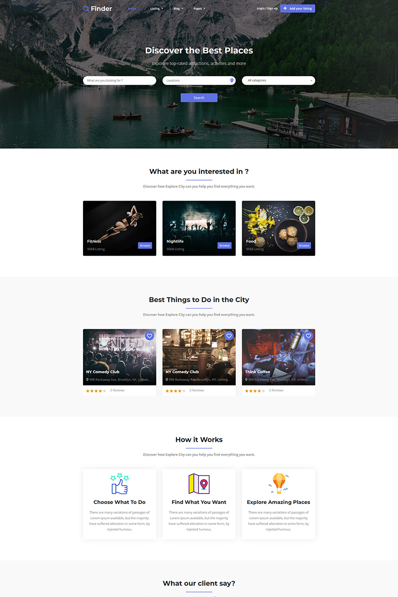 Finder - Directory & Listings Website Template