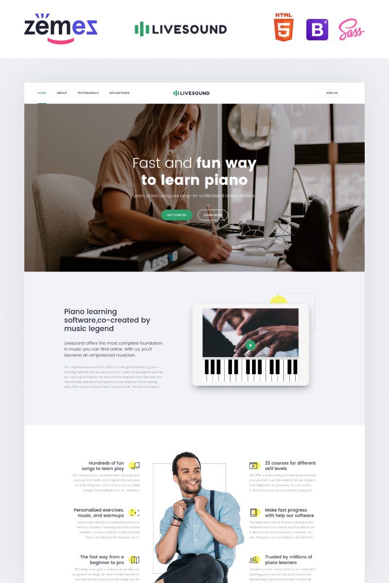 Livesound - Music School Landing Page Template