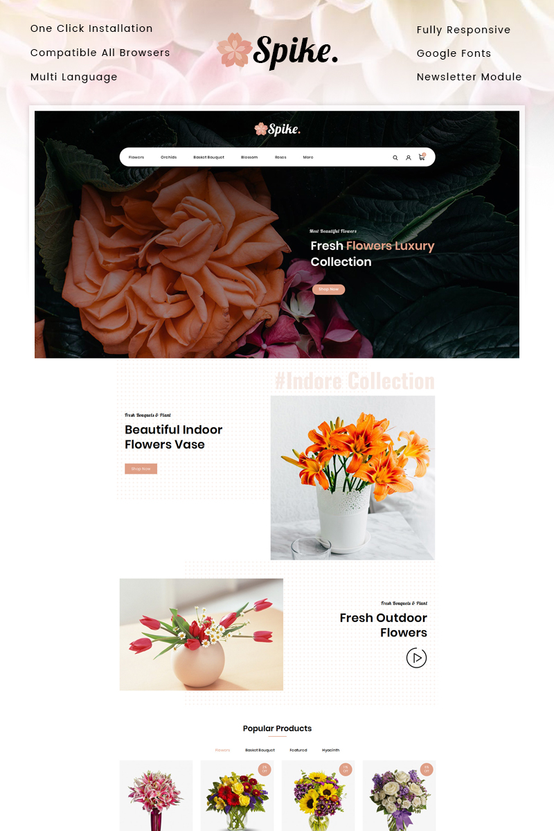 "OpenCart Vorlage namens ""Spike - Fresh Flowers Store"" #90394"