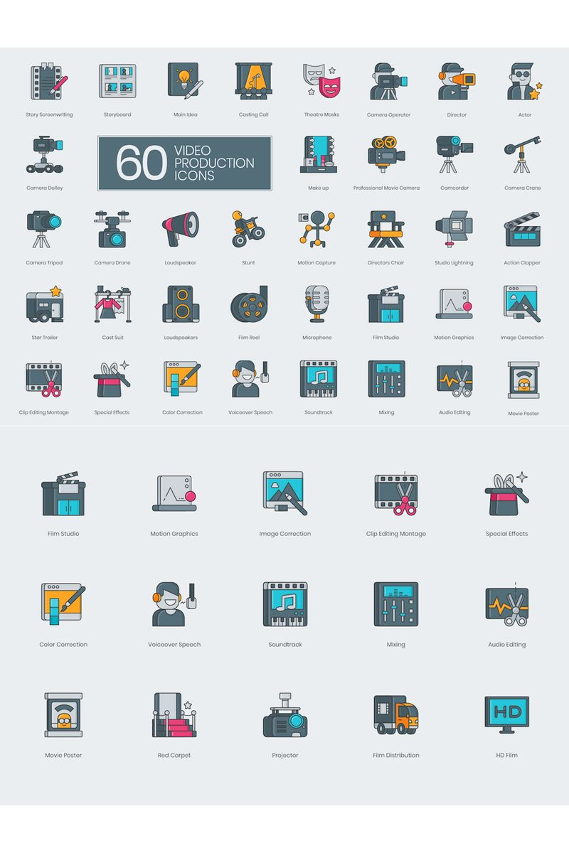 60 Video Production Icons - 3D Series Iconset Template - screenshot