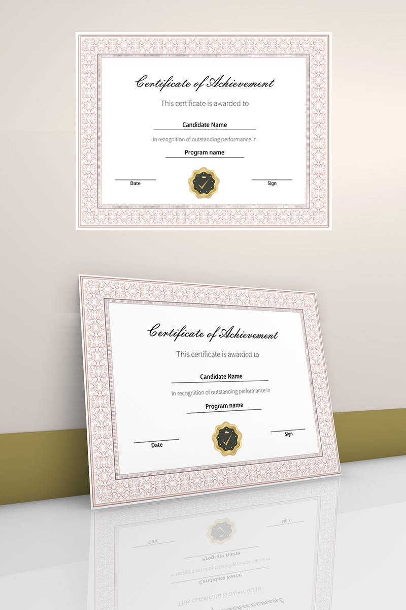 Achievement certificate with border Certificate Template 90450