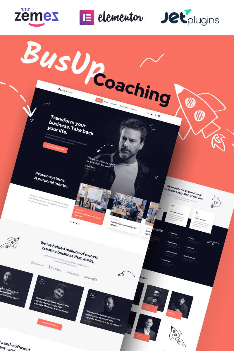 """BusUp - Engaging And Inspiring Public Speaker Website"" 响应式WordPress模板 #90400 - 截图"