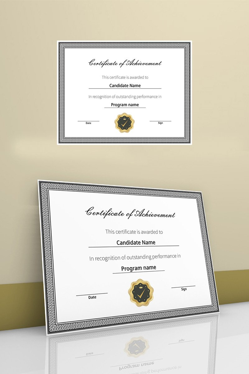 Certificate of achievement with flat color border Certificate Template 90452