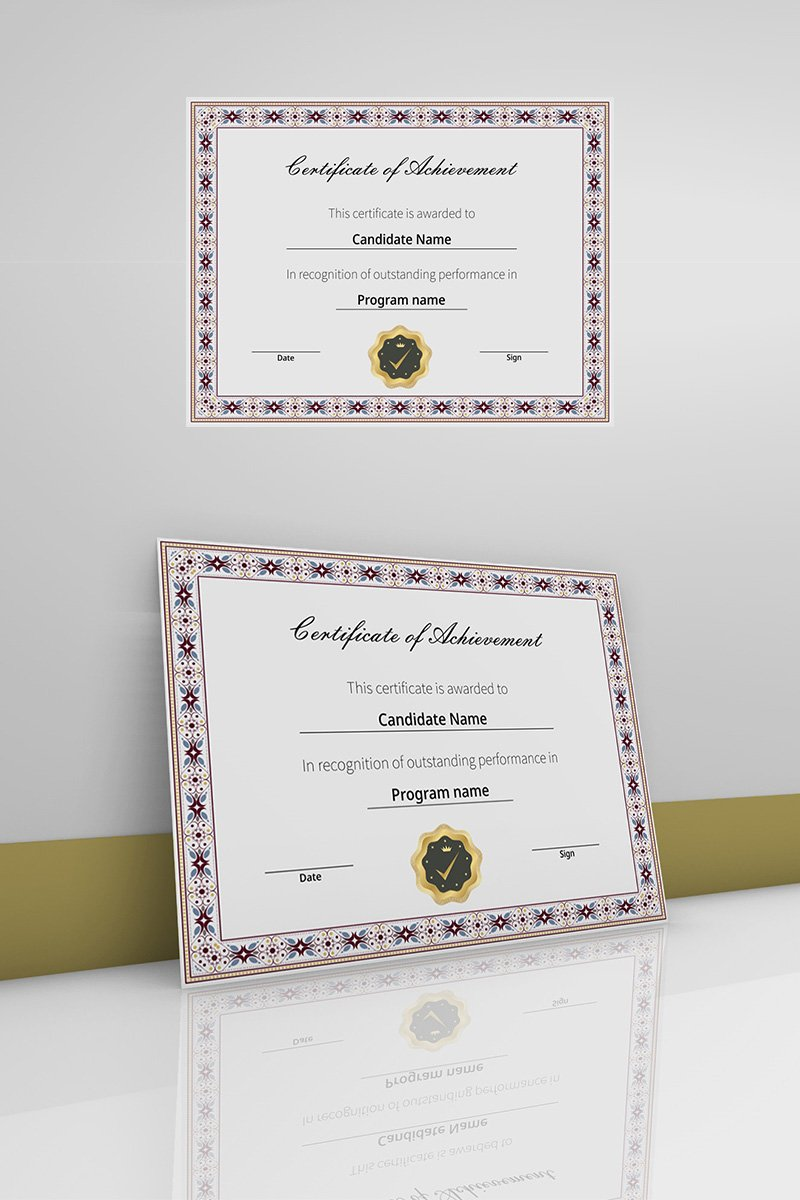 Certificate of achievement with ornamental border Certificate Template 90453