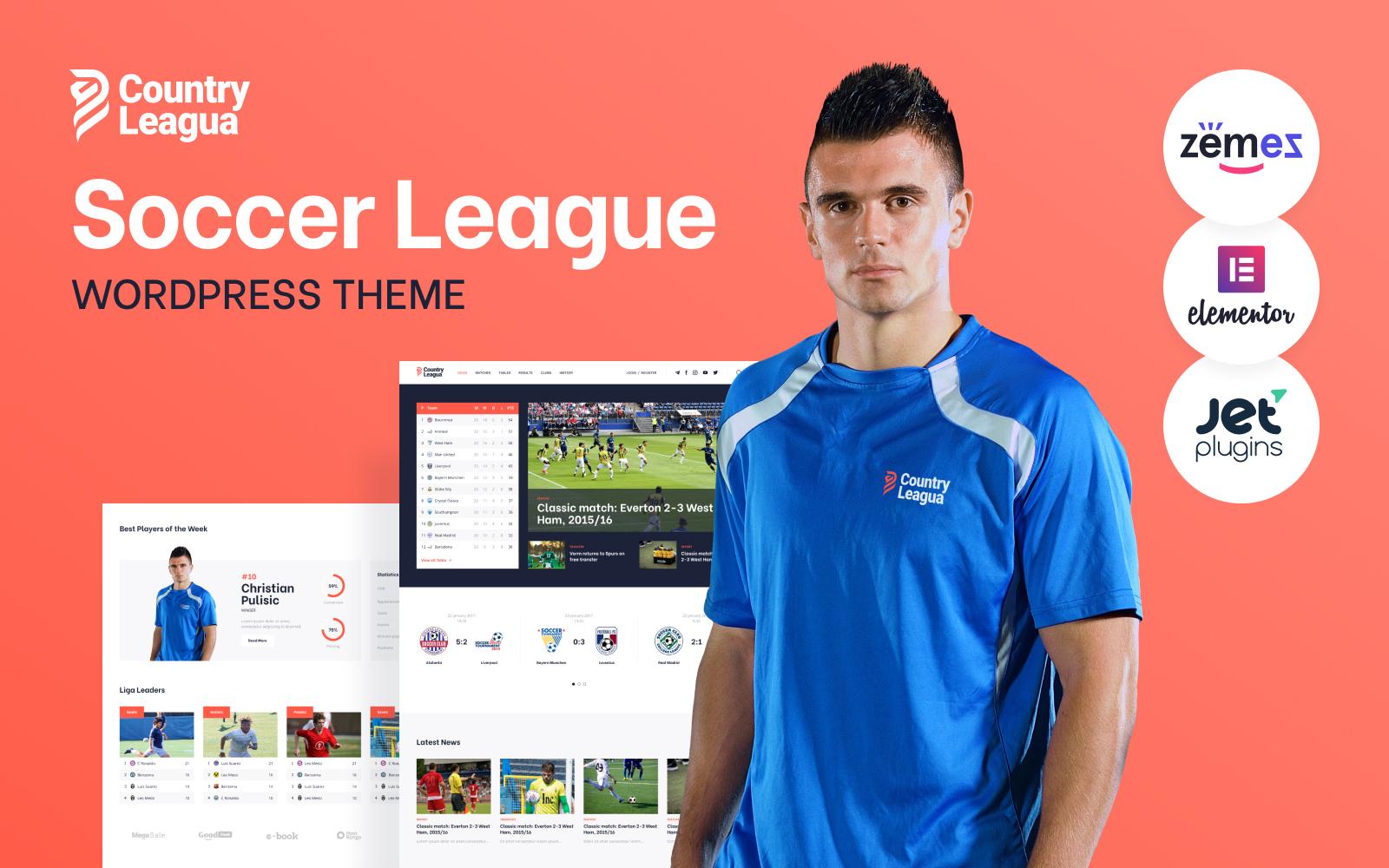 """Counter Leagua - Soccer League"" thème WordPress adaptatif #90497"