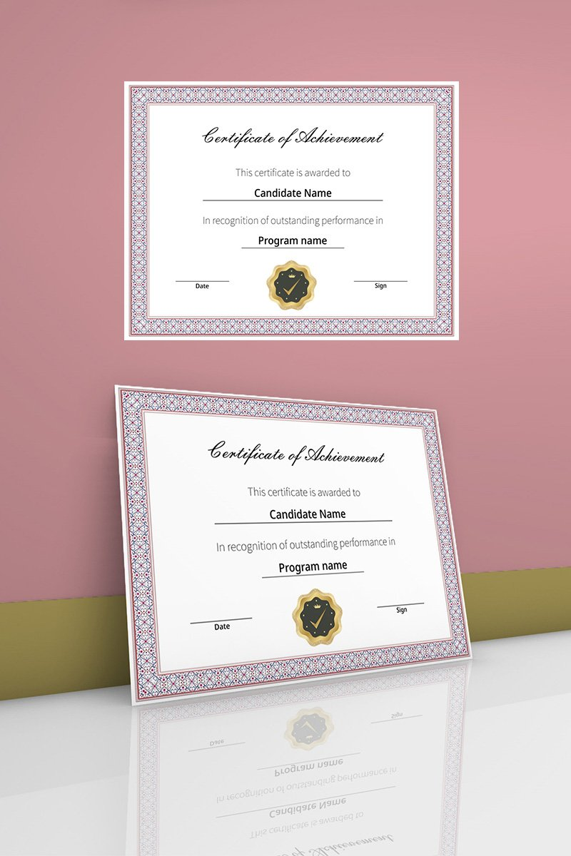 Elegnat and simple Certificate of achievement Certificate Template 90451