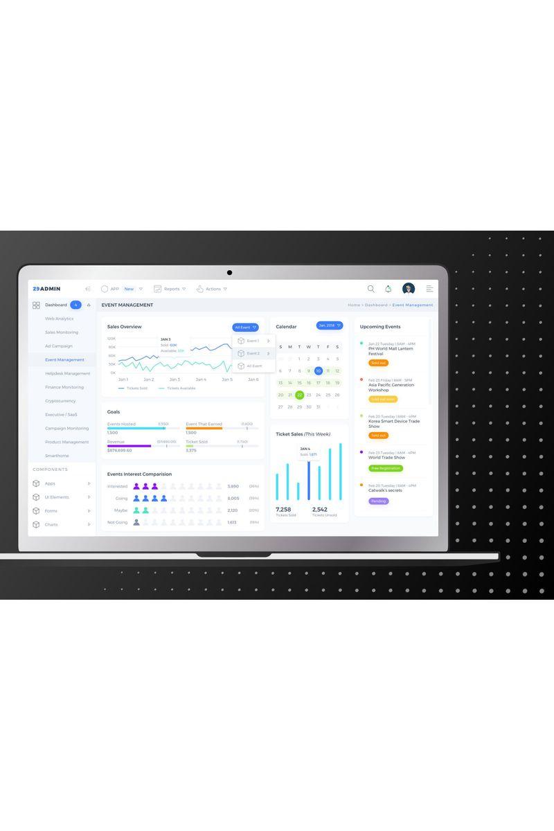 Event Management Admin Dashboard UI UI Elements #90406