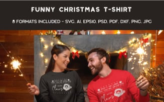 Funny Ugly Sweater Party. Santa - T-shirt Design