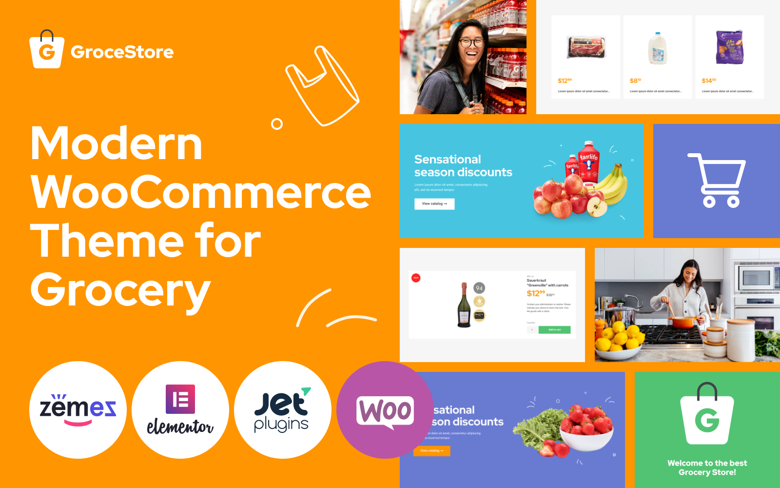 """""""GroceStore - Bright And Attractive Grocery eCommerce Website"""" 响应式WooCommerce模板 #90498"""