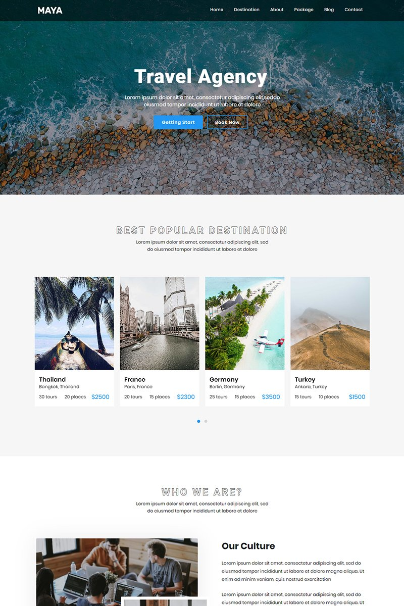 "Landing Page Template namens ""Maya - Travel Agency"" #90411"
