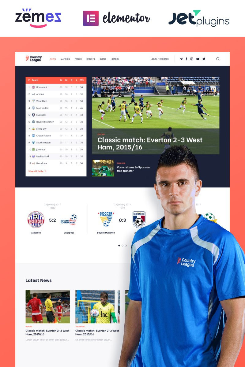 "Modello WordPress Responsive #90497 ""Counter Leagua - Soccer League"""