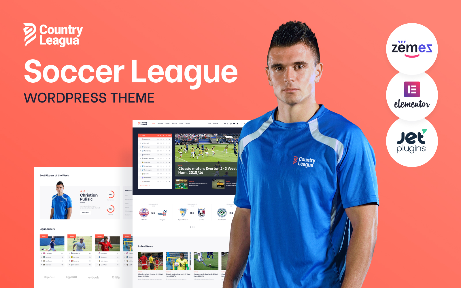 Responsivt Counter Leagua - Soccer League WordPress-tema #90497